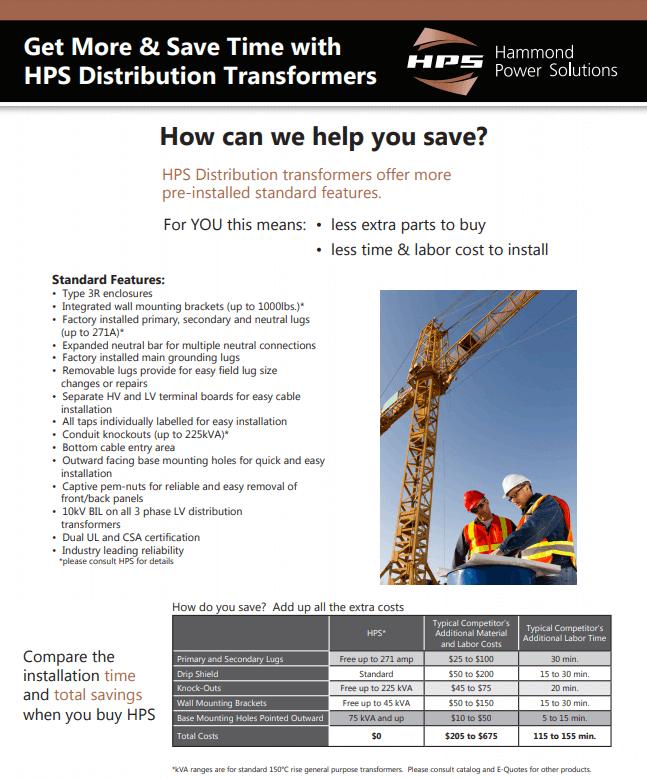 HPS distribution transformer comparison flyer thumbnail